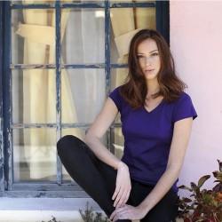 T-shirt  femme - Col V uni 100% coton - Manches courtes - 10 coloris