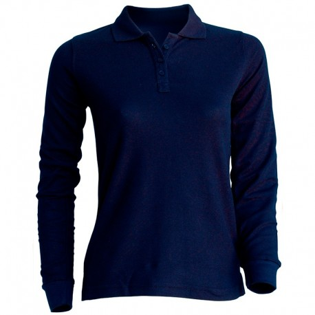 Polo uni 100% coton - Femme - manches longues - 7 coloris